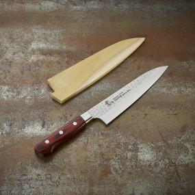 Couteau lame Damassée 33 couches martelée 180 mm, ambidextre et étui