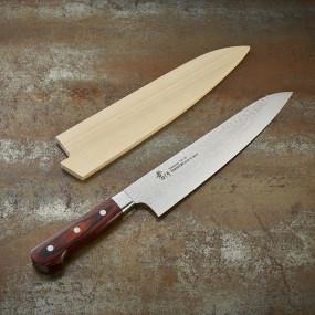 Couteau Chef lame Damassée 33 couches martelée 240 mm