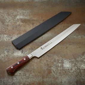 Couteau Kengata Yanagiba à sashimi, lame Damassée 33 couches martelée 270 mm