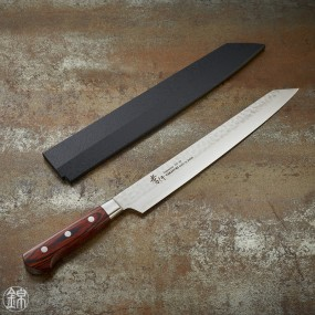 Sashimi Kengata Yanagiba knife, Damascus 33 layers hammered blade 270 mm