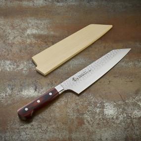 Couteau Kengata Chef, lame Damassée 33 couches martelée 190 mm