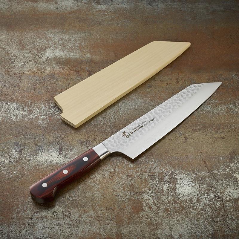 Couteau Kengata Chef, lame Damassée 33 couches martelée 190 mm Couteaux Japonais