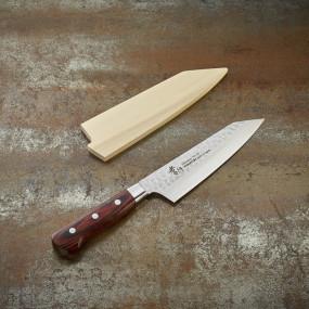 Couteau Kengata Santoku, lame Damassée 33 couches martelée 160 mm