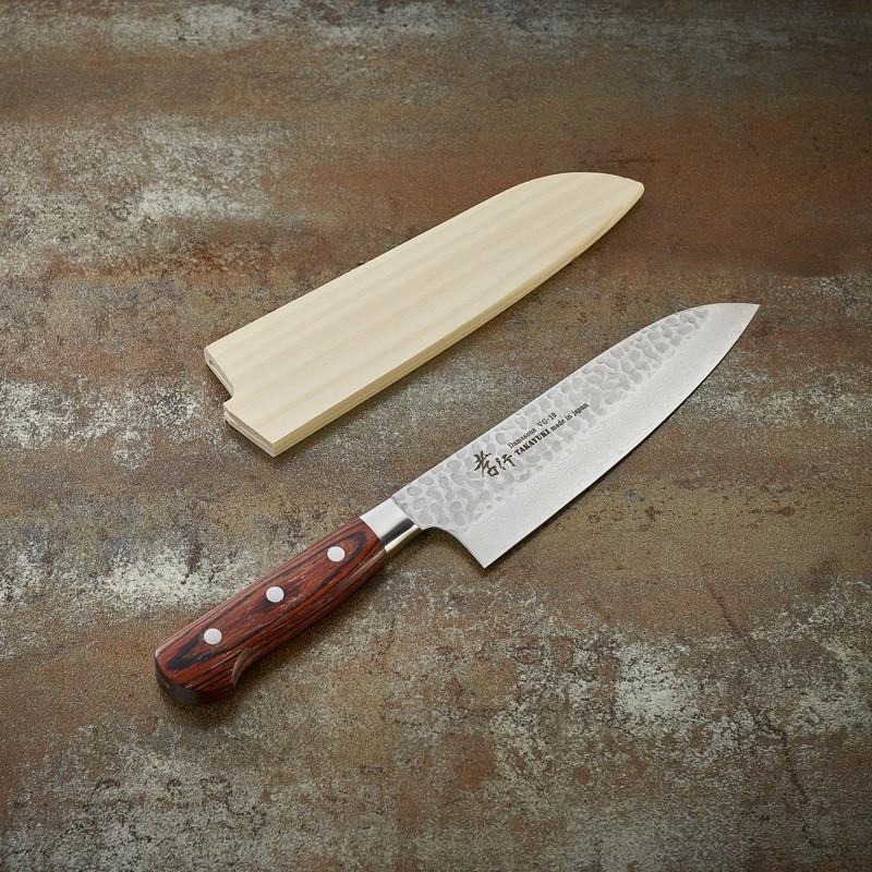 Santoku knife, Damascus 33 layers hammered blade 160 mm