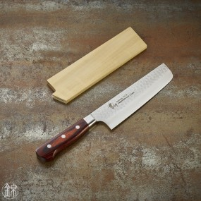 Nakiri knife for vegetables, Damascus 33 layers hammered blade 160 mm