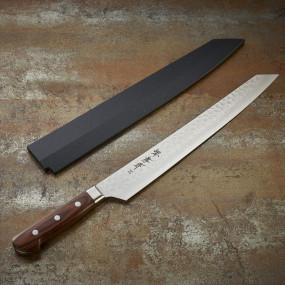 Couteau Kiritsuke Yanagiba pour sashimi, lame Damassée 17 couches 300 mm, gaucher Couteaux Japonais
