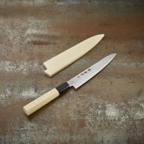 Couteau office, lame damassée 45c martelée 150mm, ambidextre + étui