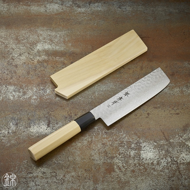 Nakiri knife for vegetables Damascus 45 layers hammered blade 160 mm Damascus series 45 layers hammered