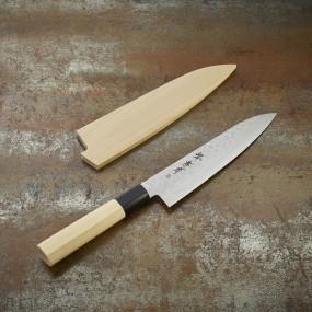 Couteau Chef, lame damassée 45c martelée 180mm, ambidextre + étui