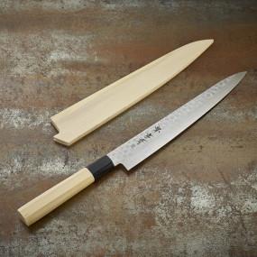 Couteau trancheur lame Damasée 45 couches martelée 240 mm