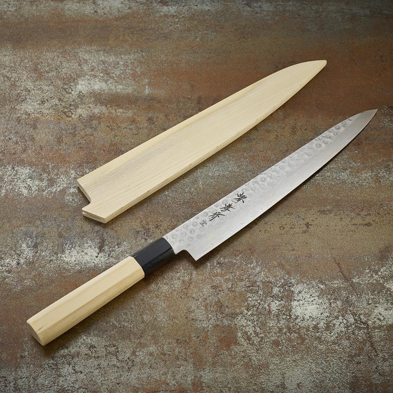 Slicer knife Damascus 45 layers hammered blade 240 mm