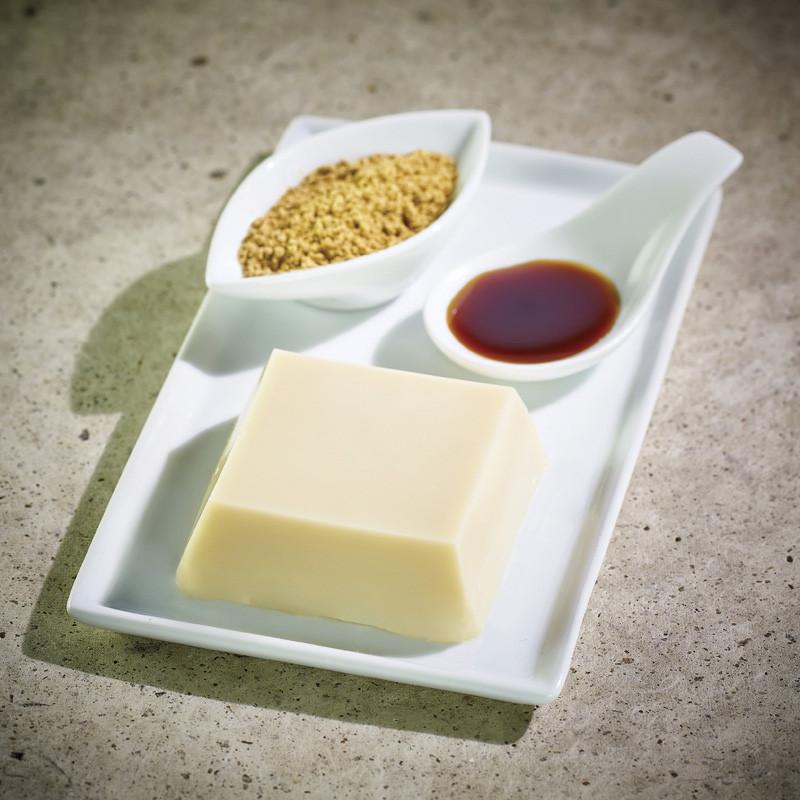 Soy Godofu accompanied by its black sugar and Kinako  Tofu & Yuba