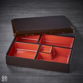Black bento box and its compartment