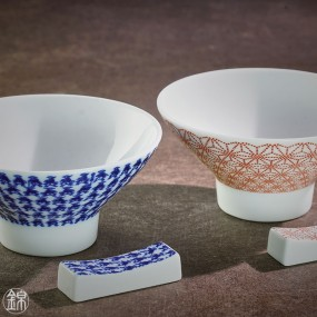 Pair of porcelain rice bowls and chopstick holders Nikko porcelain