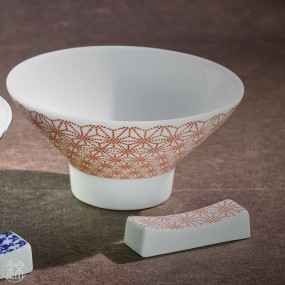 Pair of porcelain rice bowls and chopstick holders
