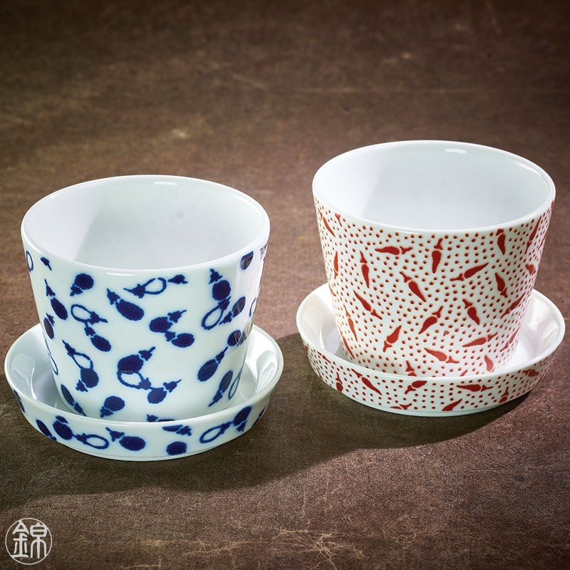 Pair of porcelain Soba noodle cups and mini cups Nikko porcelain