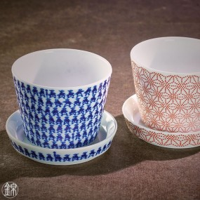 Pair of porcelain Soba noodle cups and mini cups