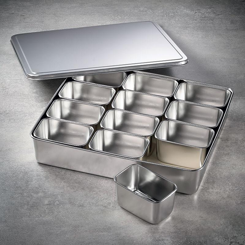 12 Mini bacs rectangulaires à ingrédients dans leur bac et couvercle