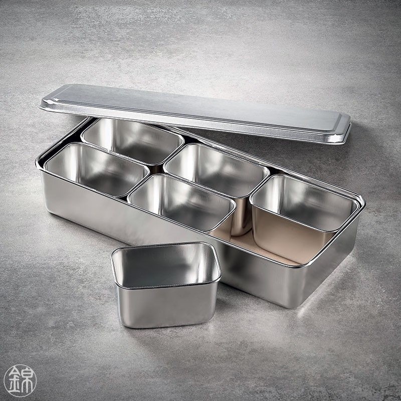 6 Mini rectangular seasoning vat with lid and container