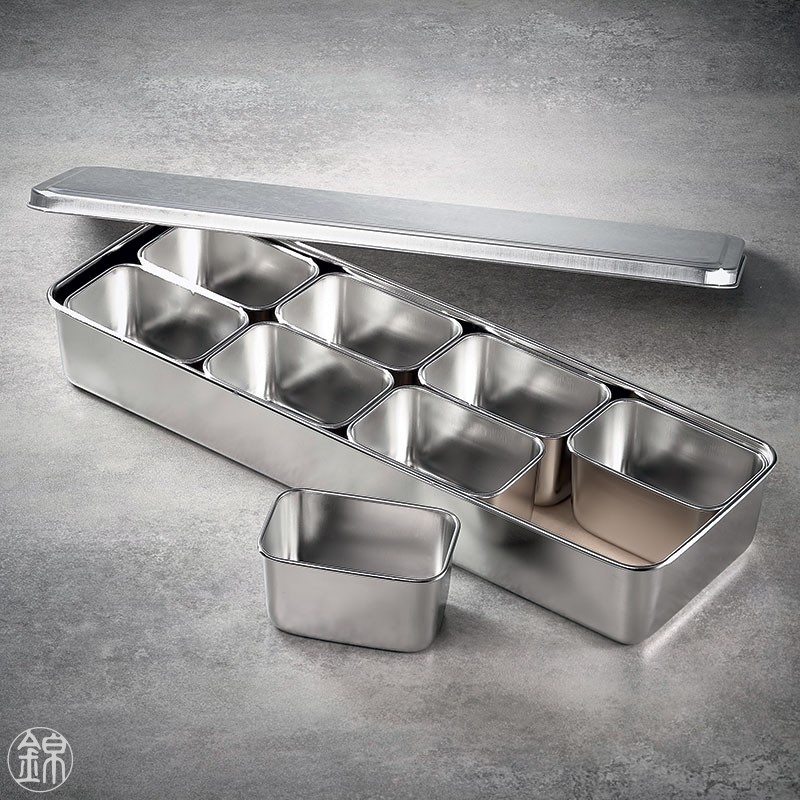 8 Mini rectangular seasoning vat with lid and container