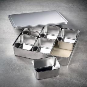 6 Mini bacs carrés à ingrédients dans leur bac et couvercle