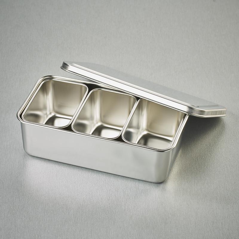 3 Mini bacs rectangulaires à ingrédients dans leur bac et couvercle