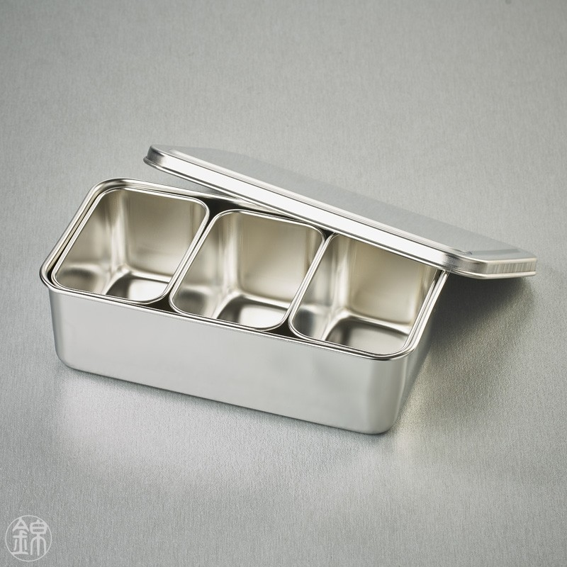 3 Mini rectangular seasoning vat with lid and container