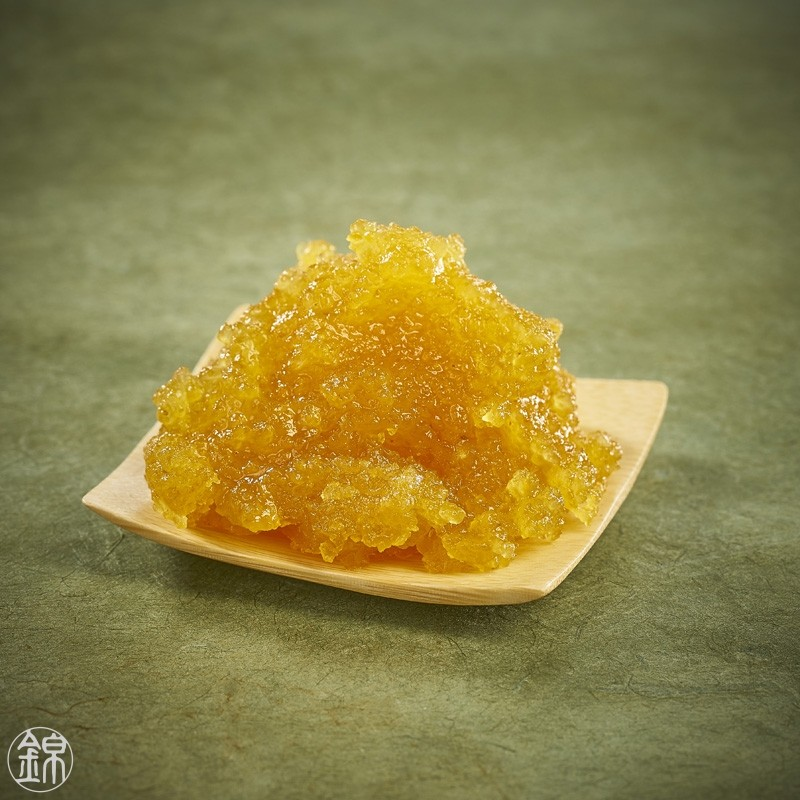 Sugar candied yuzu peel puree