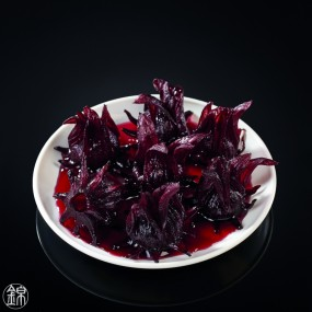 Chalice of hibiscus flowers in syrup
